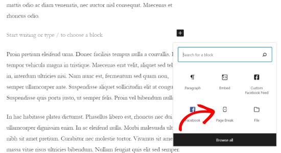 Add a page break block