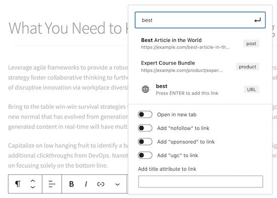 Add internal links in WordPress
