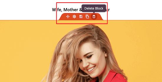 Delete content block
