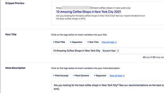Adding an SEO post title and description in All in One SEO