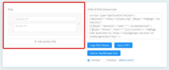 Add questions to schema generator