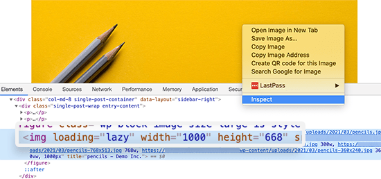 Inspect height and width attributes