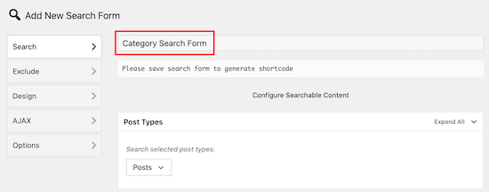 Name category search form
