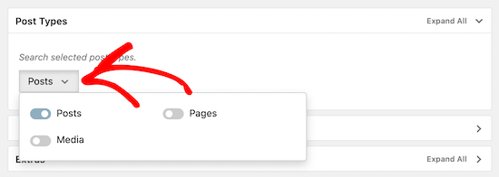 Select post option for category search