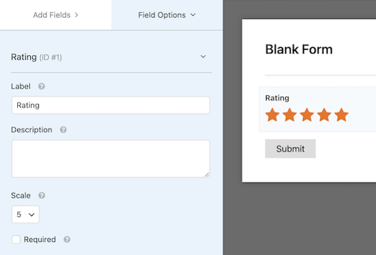 WPForms star rating setting