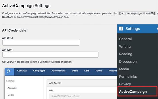 ActiveCampaign connect account