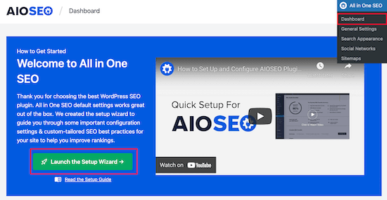AIOSEO launch setup wizard