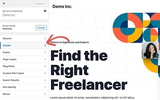 Custom header in a WordPress theme