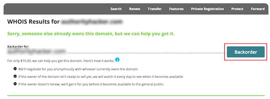 Network Solutions backorder domain