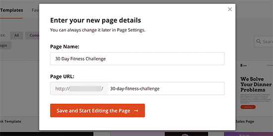 Choose a page title and URL