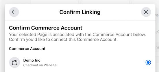 Confirm commerce account website checkout