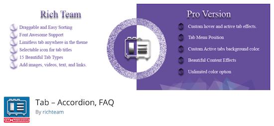Tab Accordion FAQ plugin