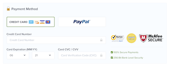 Payment options example