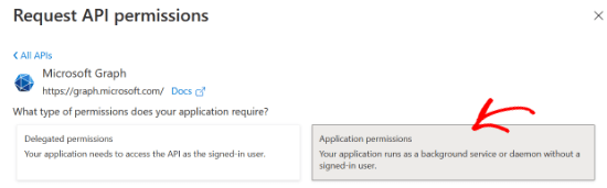 Select application permissions