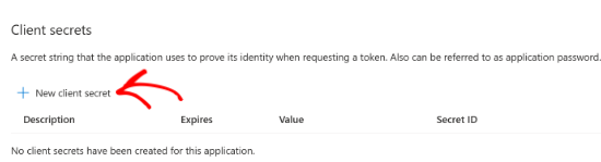 Select the New client secret option