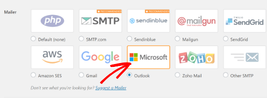Select the Outlook Mailer Option