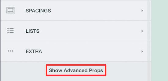 Click show advanced props