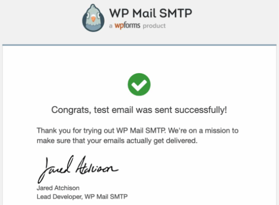 Test email from WP Mail SMTP