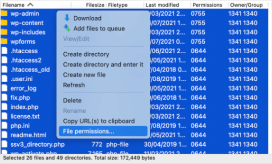 Right Click to Select File Permissions