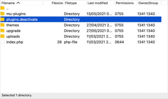 The Folder is Now Named plugins.deactivated