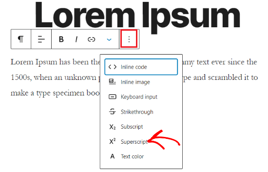 Add Superscripts in WordPress block editor
