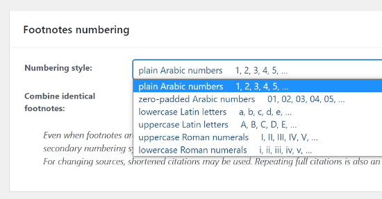 Choose a Numbering Style
