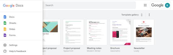 Google Docs, Sheets, Slides, Forms