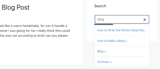 Live widget search example