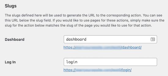 Theme My Login URL slug settings