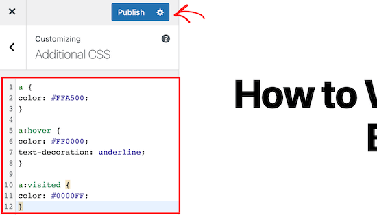 WordPress customizer code