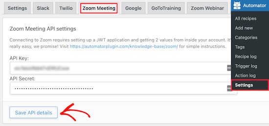 Enter Zoom meeting API keys