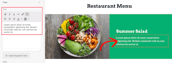 Change menu item text