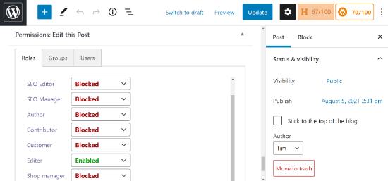 Cambiar el permiso para ver y editar publicaciones específicas
