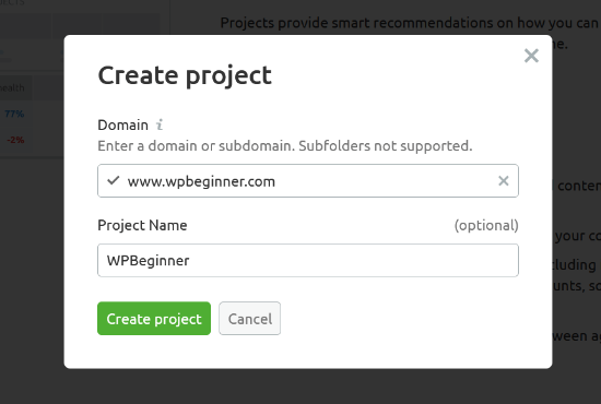 Enter your domain and add a project name