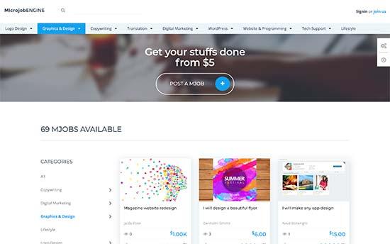 Microjob website example
