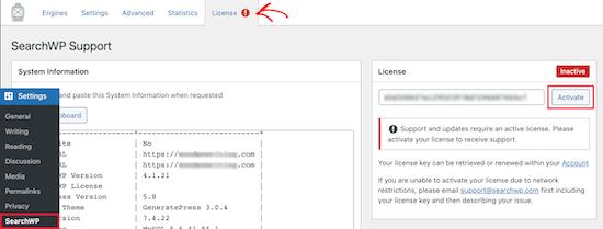 Enter SearchWP license key