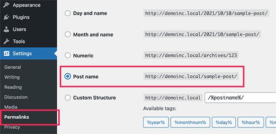Setting up permalinks in WordPress