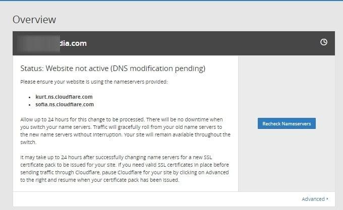 domain Anda ditambahkan di CloudFlare