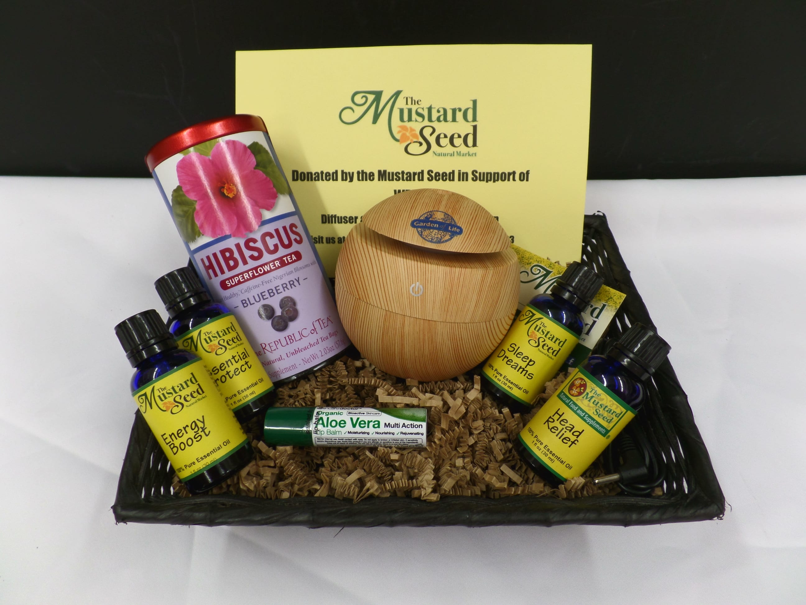 WELLNESS GIFT BASKET <br/> Donated by: THE MUSTARD SEED <br/> Valued at: $80