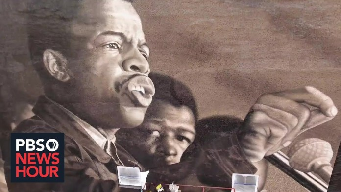 Large mural pays tribute to the late John Lewis