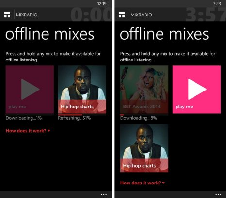 MixRadio Offline Mixes