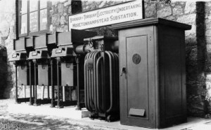 SWEHS 18.1.012.jpg - Date c1930s - Borough of Torquay Electricity Department Torwood substation with 2,000 volt gear on right. Devon, Torquay .