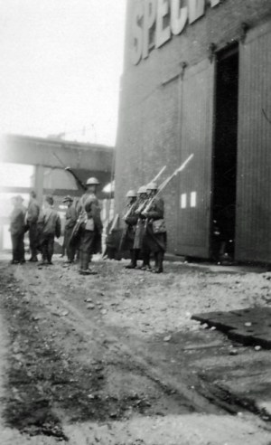 SWEHS 3.4.259.jpg - Date 1926 - Photograph of army personnel taken during general strike at Feeder Road Electricity Works (Generating Station), Feeder Road. Bristol, St. Phillips The generating station was orginally called 'Avonbank' but was renamed in 1916 as Feeder Road Electricity Works to avoid confusion with 'Avonmouth'. Many rail deliveries had previously been delivered to the wrong address..