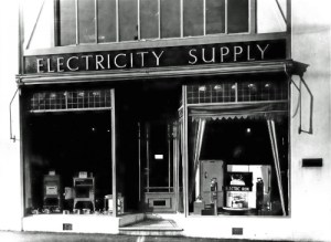 SWEHS 7.1.027.jpg - Date c1940 - Cornwall Electric Power Company 'Electricity Supply' show room. In addition to customers these were often used by engineers and foremen for a quick telephone call to the Hayle Control Room or Carn Brea offices. Cornwall, Launceston .