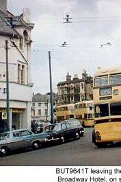 Trolleybuses in Bournemouth - BUT 9641T leaving the Broadway Hotel