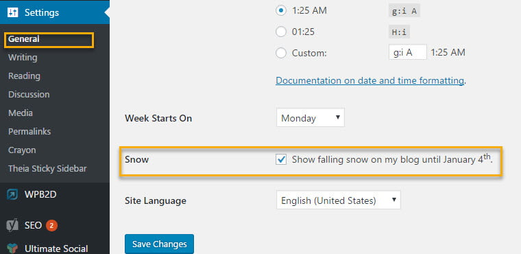 adding snow to wordpress