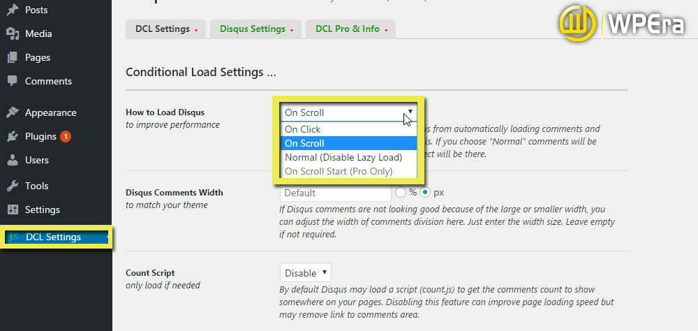 Disqus Conditional Load dashboard