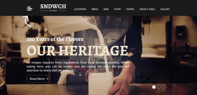 SNDWCH - Thème WordPress pour restaurants