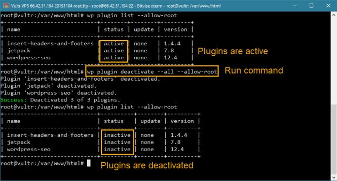 wp-cli désactiver tous les plugins dans wordpress depuis la ligne de commande