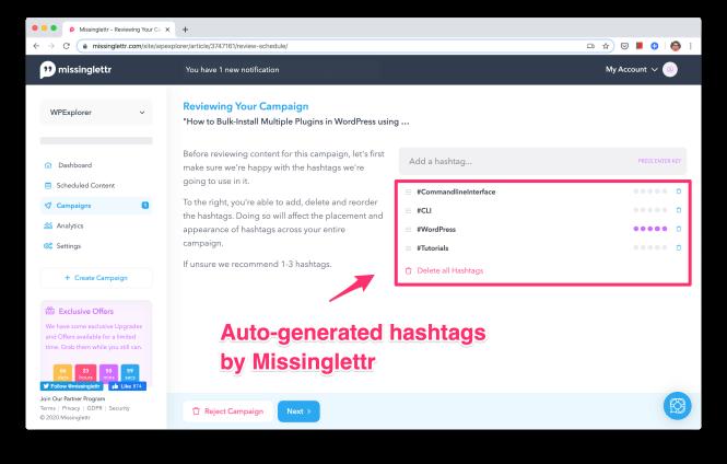 12 hashtags de campagne missinglettr générés automatiquement